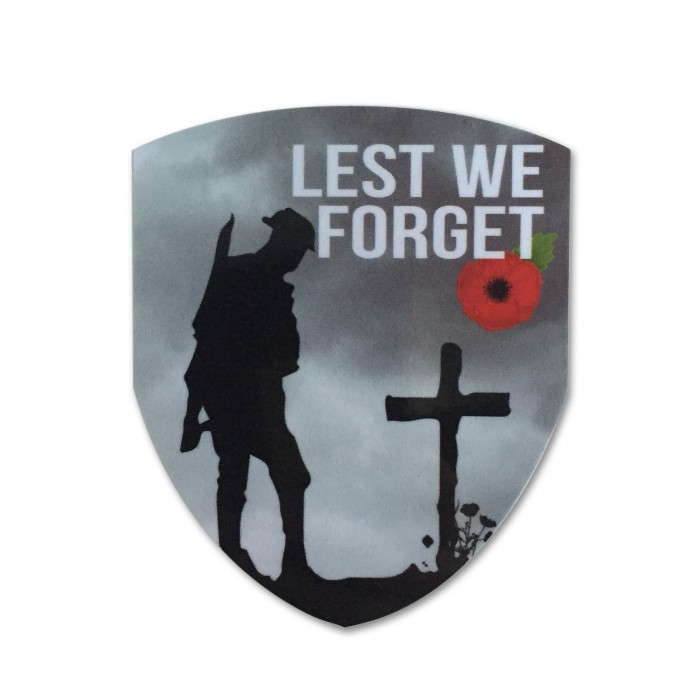 Lest We Forget Remembrance Poppy Shield Sticker