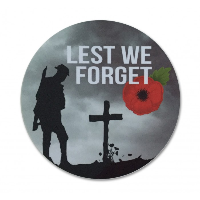 Lest We Forget Remembrance Poppy Round Sticker