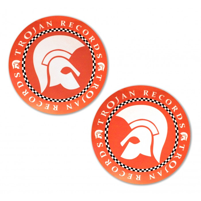Large Orange Trojan Records Stickers x 2