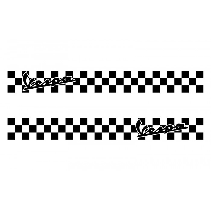 Vespa Chequered Stripe Sticker Kit - Decals Fit All Vespa Models